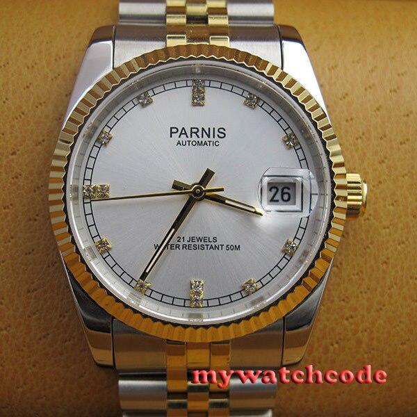 36 мм белый циферблат Золотой ремень 21 jewels miyota автоматические Роскошные мужские часы 402