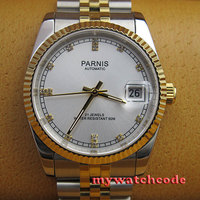 36mm white dial golden strap 21 jewels miyota automatic Luxurious mens watch 402