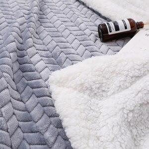 Image 5 - Couverture douatine de corail Sherpa Super douce de luxe couleur unie réversible en fausse fourrure vison jeter des couvertures chaudes pour enfants adultes sur le lit
