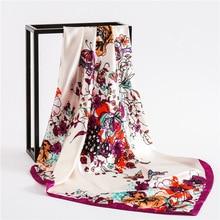 Silk Square Scarf 2019 Luxury Brand Hijab Female Satin Scarfs Shawls Women Floral Print Foulard Bandana