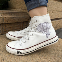 Wen 2017 Men Women's Canvas Shoes Design Elephant Ethnic Style High Top White Sneakers for Christmas Birthday Gifts