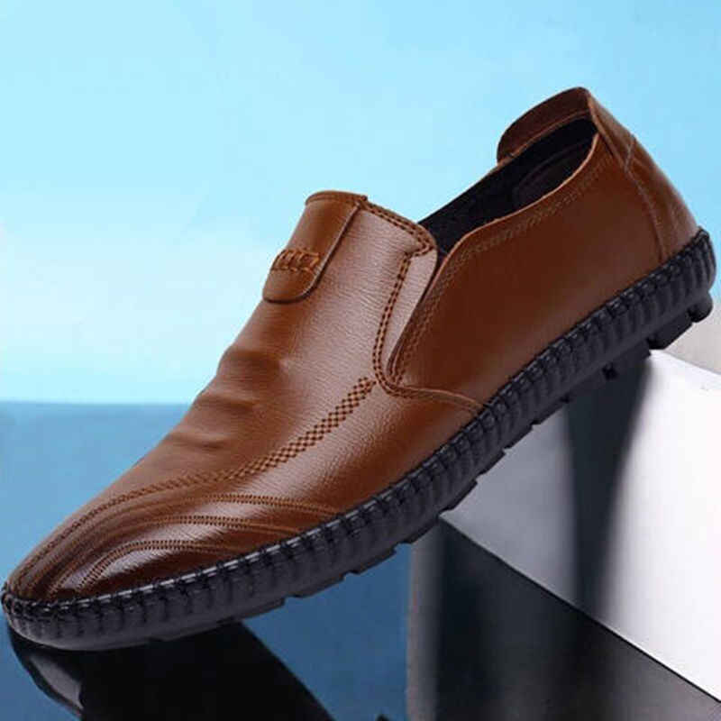 FEERIJT แฟชั่นรองเท้าหนังผู้ชายรองเท้าลำลองรองเท้าผู้ชาย Loafers ขับขี่รองเท้าผู้ชายรองเท้าแตะ Handmade Chaussure Homme