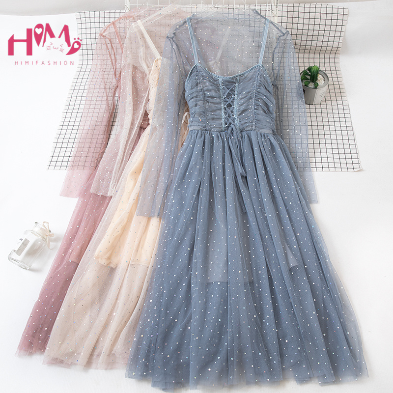 Korean Fairy Suspender Goddess Dress Women Night Party Sexy Lady Bling Vestidos Elegant Pleated Lace Sequin Pink Black Dresses