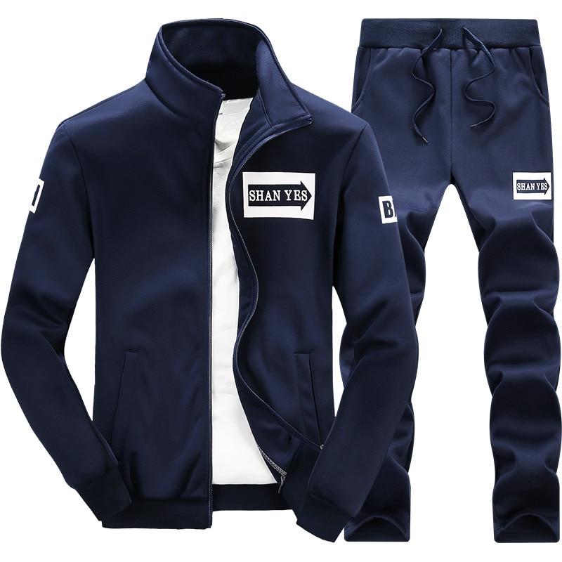 Hommes ensemble 2 PC Zipper sportswear d'automne survêtement de sport homme 2018 sweat veste + casseroles costume Hoodies Moleton Masculino #4