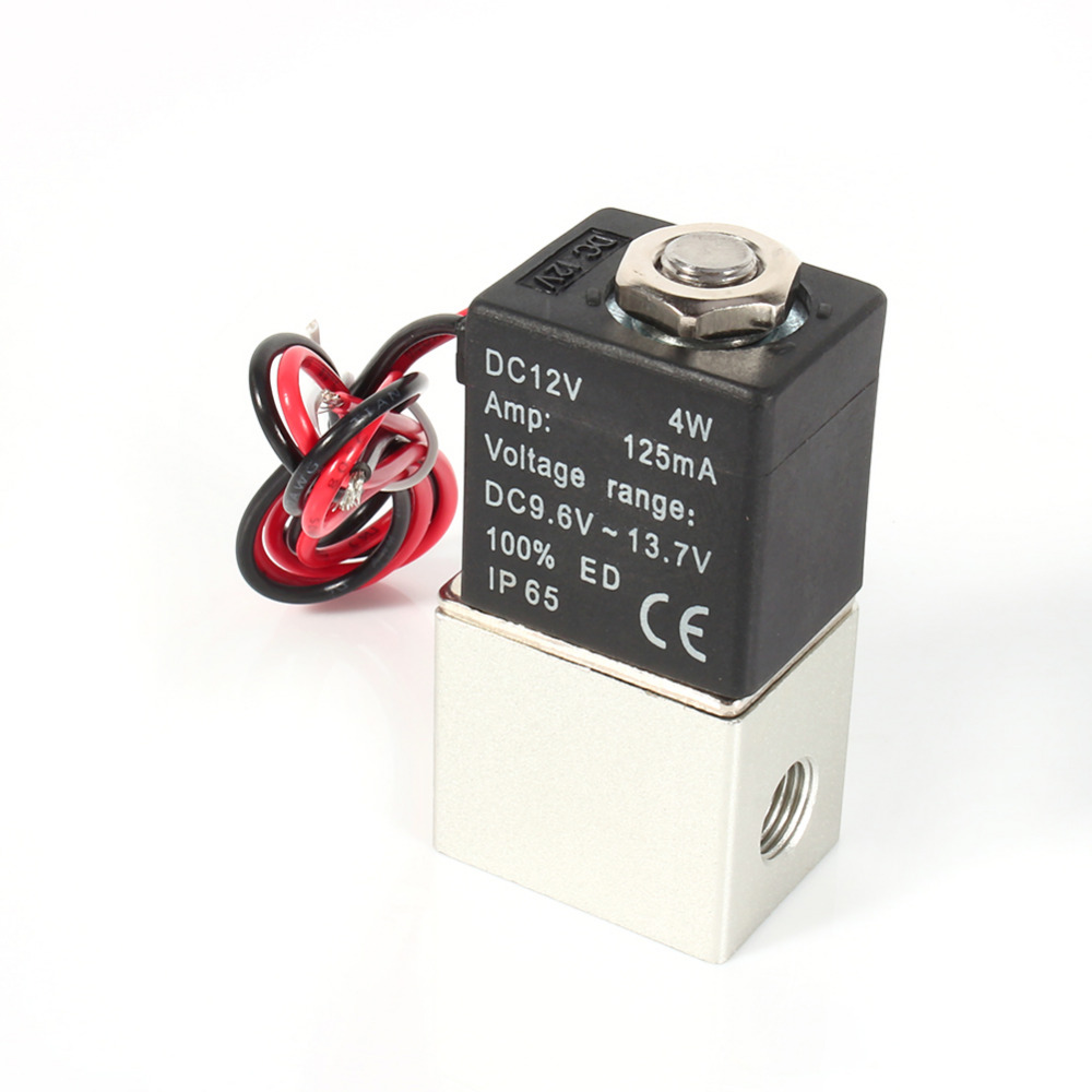 "1/8"" 2 Way Normally Closed Pneumatic Aluminum Electric Solenoid Air Valve 12V DC"