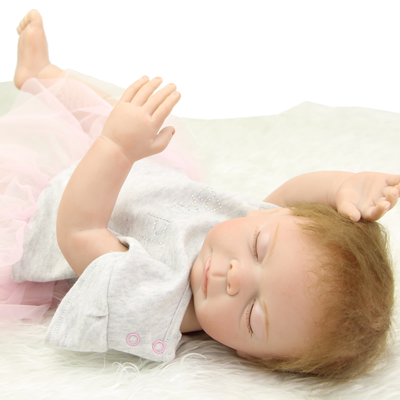 Full Silicone Vinyl Lifelike Reborn Doll Baby 20 Inch Real Vinyl Belly Newborn Sleeping Girl Toy With Dress Kids Birthday Gift handmade girl american doll full body vinyl 18 inch princess girls doll real lifelike reborn alive toy kids birthday gift