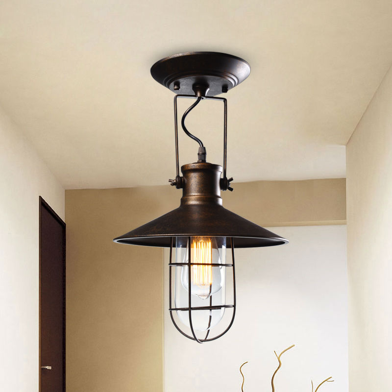 Village Retro Ceiling Lights American Country Style Corridor Balcony Loft Lamp Iron Spray Painting Process Glass Lamp Shade loft style metal cage ceiling lights hotel corridor creative ceiling lamps restaurant aisle balcony kitchen for home lighting
