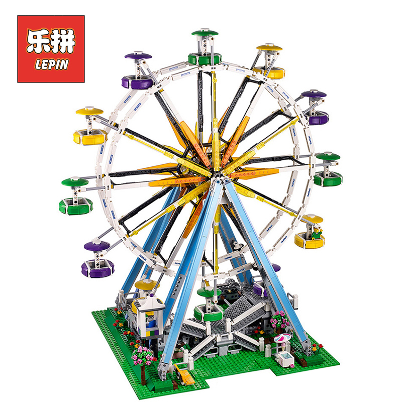 Lepin 15012 Creator City Park Playground Ferris Wheel Model Building Blocks Bricks Set DIY Collection Toys for Children 10247 lepin city creator 3 in 1 beachside vacation building blocks bricks kids model toys for children marvel compatible legoe