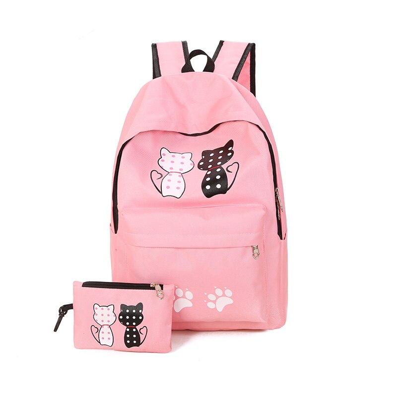 Primaire cartable École Fille 4-6 Grade 1-3 Charge Lumière de Bande Dessinée Chaton Impression Toile décontracté sac à dos portable