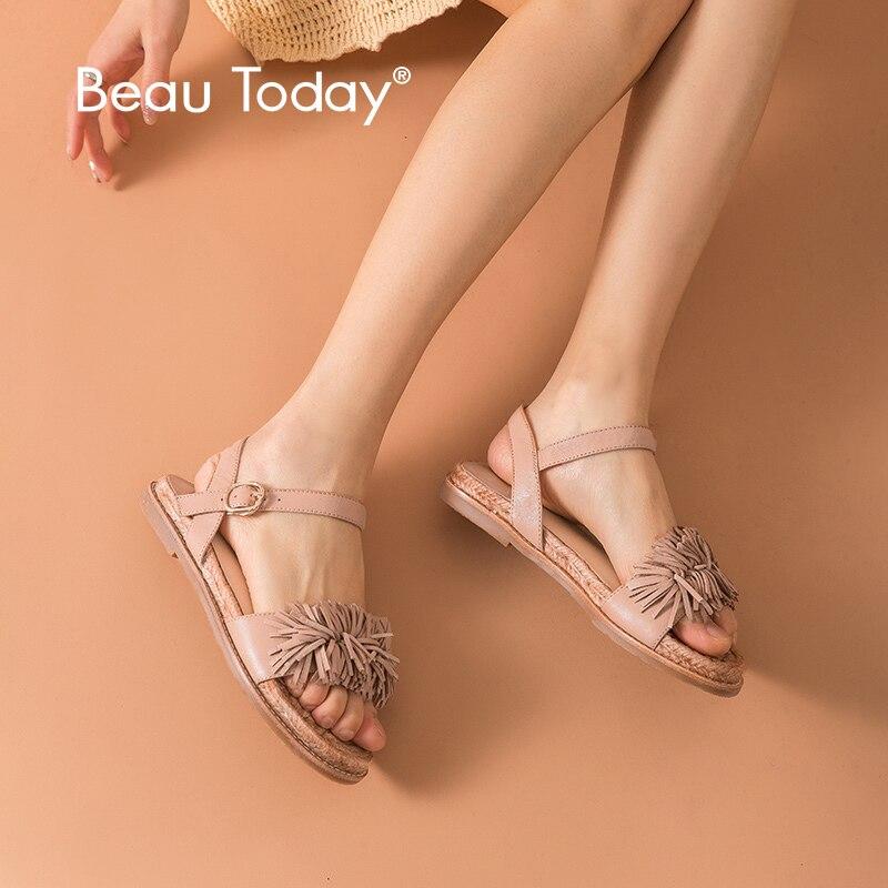 BeauToday Women Sandals Sheepskin Genuine Leather Apricot Fringe Rope Sole Ladies Summer Flat Shoes Handmade 3204963