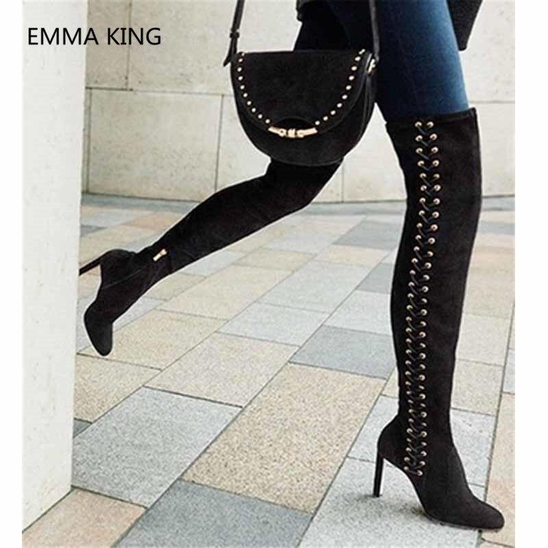 Del Cruz Señoras atado La Moda Alto Zapatos Rodilla Largas Invierno Lado Tacón Atractivo Botas Mujeres Por Muslo Cremallera Encima Las De Alta Negro O0x1wqT7