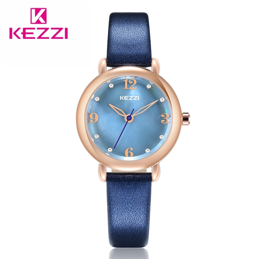 KEZZI Fashion Gold Women Watch Luxury Brand Leather Strap Ladies Dress Quartz Wristwatch Waterproof Gift clock Relogio Faminino romanson tl 1246 mw wh wh