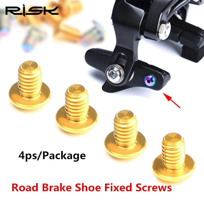 4pcs RISK Road Bike V Brake Shoes Fixed Screw Titanium