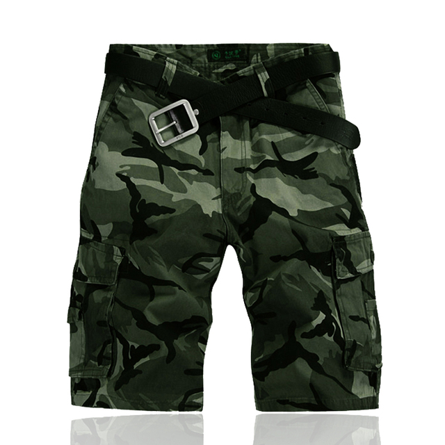 2016 Shorts Men Camouflage Knee Length Mid Waist High Quality Mens Shorts Loose Shorts Cotton Big Size Military Overalls