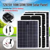 Flexible Solar Panel Plate 12V/5V 10W 20W 30W Solar Charger For Car Battery 12V 5V Phone Battery Sunpower Monocrystalline Cells