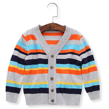 Color Stripe Baby Boy Sweater Thick Crochet Knit Kids Outfit Coat Comfortable Cotton Elastic V Collar Button Closed Autumn