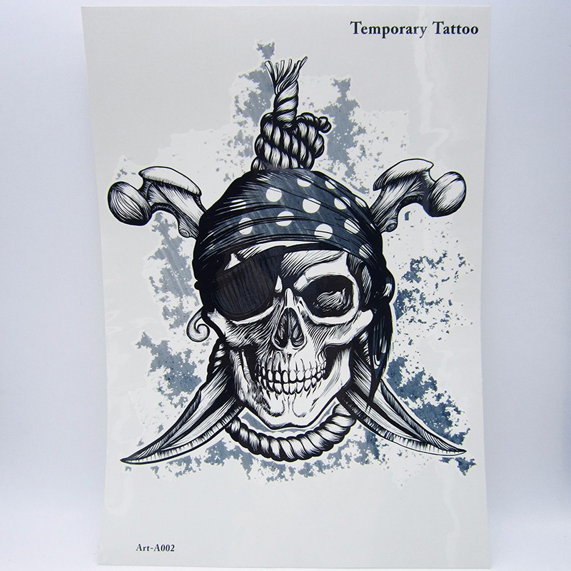 1pcs Big Cool Death Skull Tattoos For Men, Beautiful Arm Back Skull Pirate Waterproof Large Temporary Tattoo Stickers 30*21cm 4