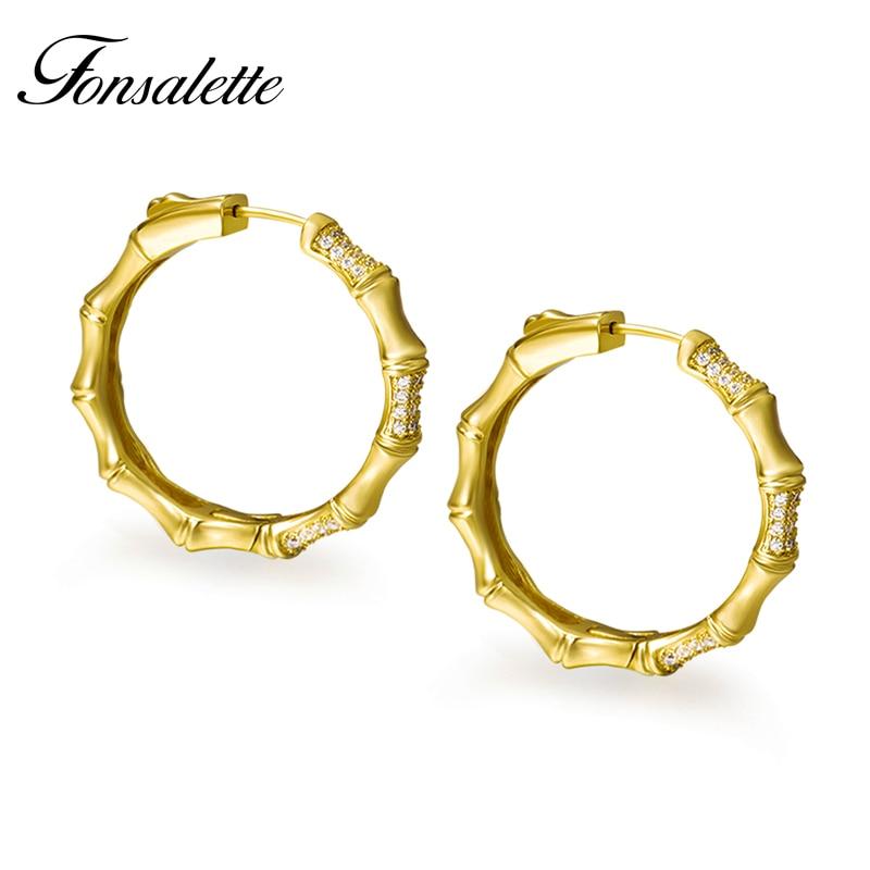 Fahion Hoop Earrings 925 Sterling Silver Post Earring Skinny Circle CZ Bamboo Shape Ear Female Jewelry Wholesale Gift Zk40