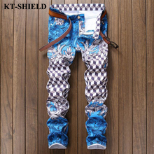 Новая мода повседневная мужчин джинсы дизайнер печатных джинсовой узкие брюки мужские тонкие прямые длинные брюки хлопок hip hop джинсы homme