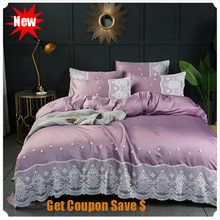 double-sided washed silk 4pcs bedskirt pillowcace duvet cover sets Euro style lace edge quilt mattress bedding