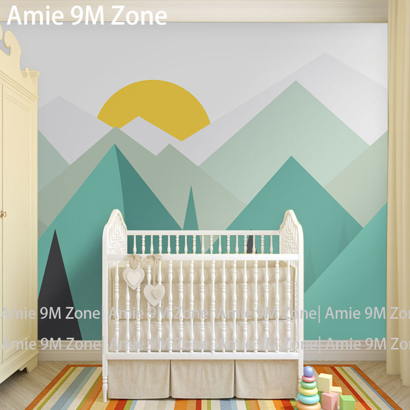 Pure Green Mountain Art Wallpaper Mural On The Wall For Kid S Room Nursery Decor Free Shipping In Wallpapers From Home Improvement