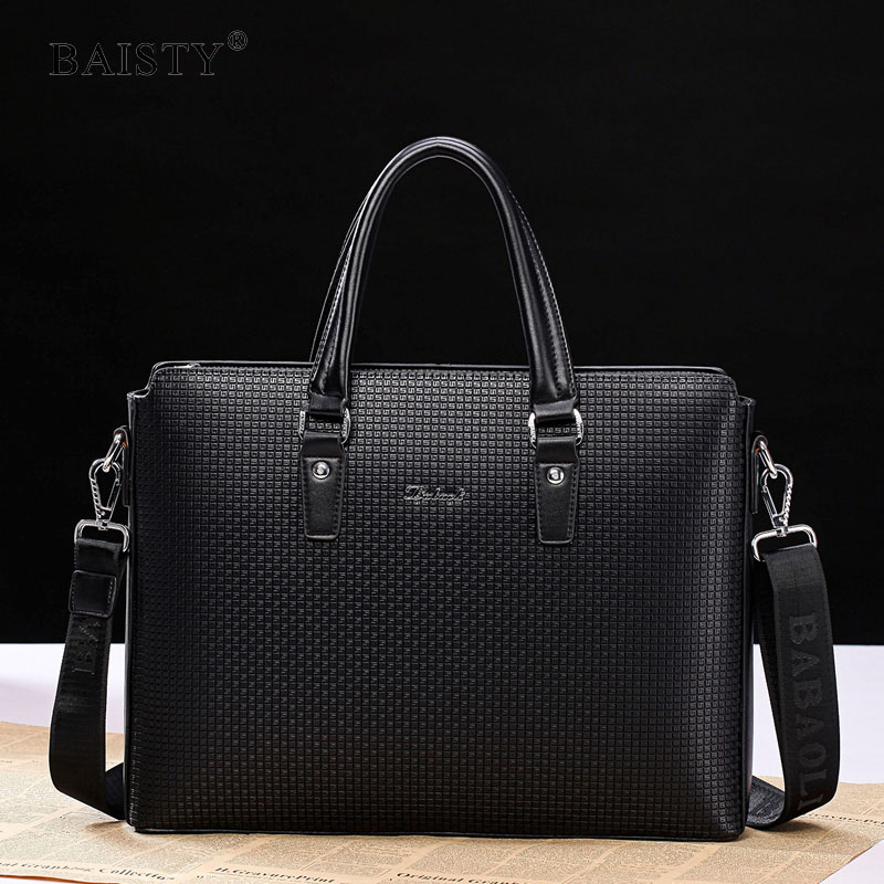 BAISTY Brand 2017 Fashion Men Commercial Briefcase Handbags pu leather Men's Bag Casual Male Business bags for Laptop Two size 3colors hk dashan brand men s briefcase high quality pu leather business man 15 laptop handbags black fashion casual male bags