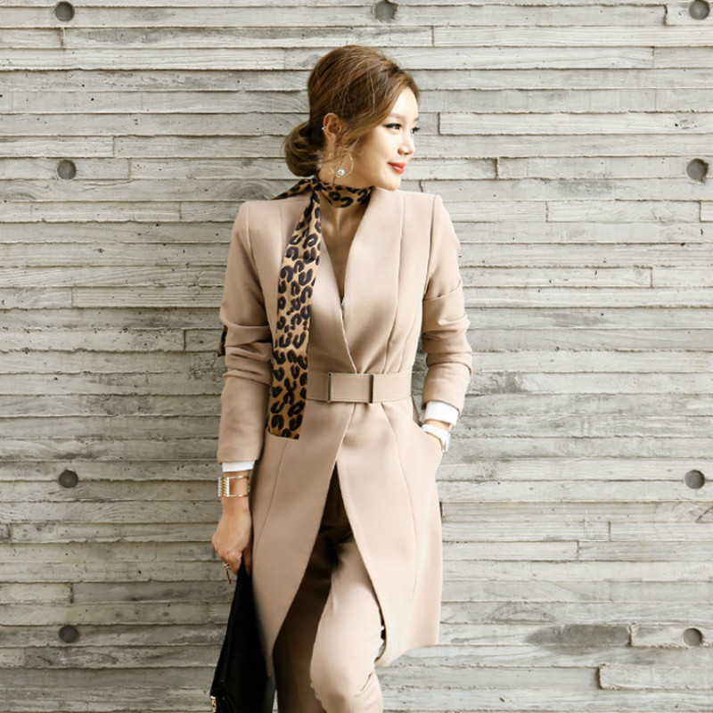 Spring and autum womens suit jacket 2018 new fashion casual coat + trousers Slim long sleeve OL Two/piece sets suit