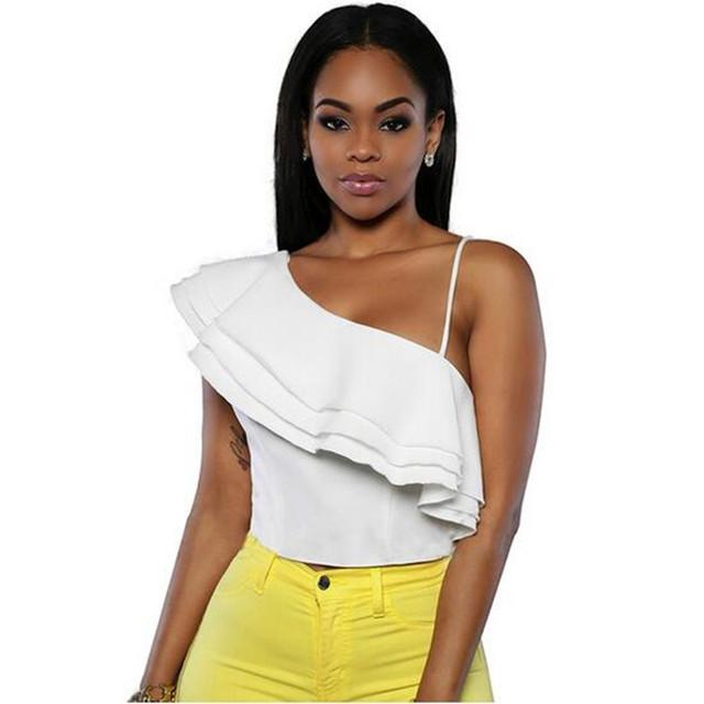 Adogirl Mulheres Ruffles Colheita Top de Um Ombro Spaghetti Strap Sexy Backless Branco Tops Camisole Verão Assimétrica Camiseta Feminina