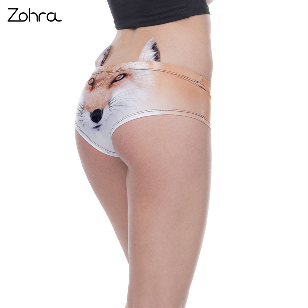 Zohra High Quality Women Ear Underwear Big Face Fox 3D Printing Sexy   Panties   Woman Animal Underwear