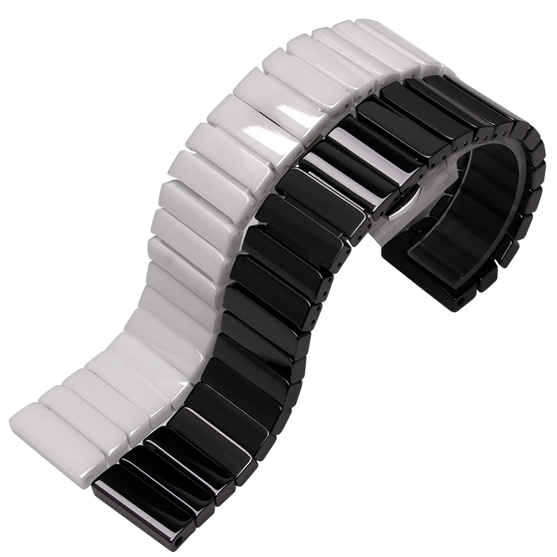 20mm 22mm 24mm Ceramic watchband watch band Wrist Strap bracelet 316L stainless Steel Butterfly clasp Lock black silver for samsung gear s2 classic black white ceramic bracelet quality watchband 20mm butterfly clasp