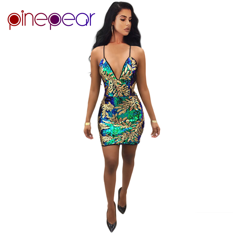 9b3c3afe62 US $12.95 19% OFF|PinePear Women Gold Green Sequin Nightclub Dress 2019 New  Sexy Deep V Neck Backless Lady Luxury Evening Party Mini Vestido-in ...