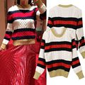 Women Sweaters And Pullovers 2016 Autumn And Winter Mixed Colors Slim Striped Long-sleeved O-neck Pullover Knit Sweater Women