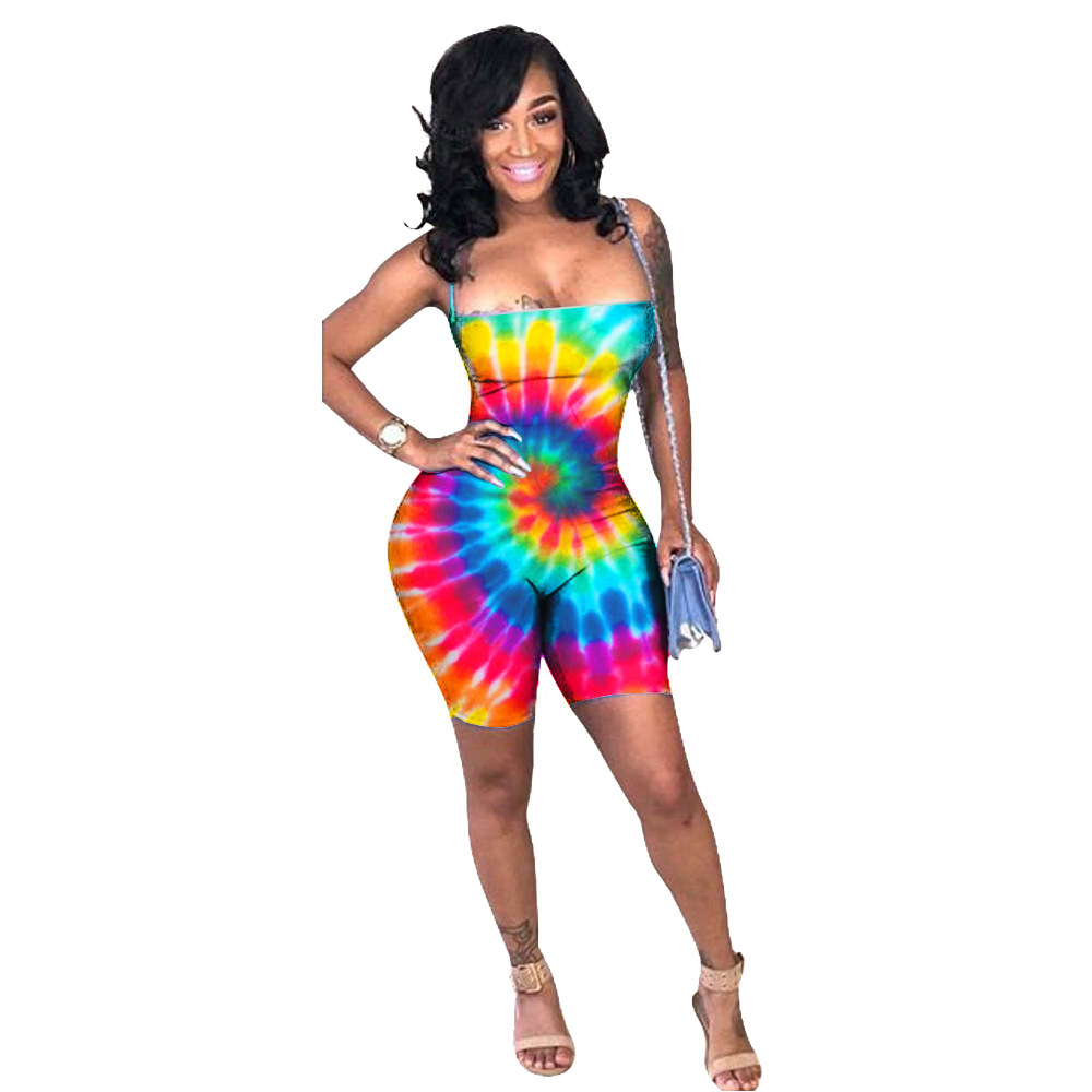Spring Summer Women   Jumpsuit   Bodycon Playsuit Bodysuit Overalls Rompers Plus Size Colorful Print Strap Sexy   Jumpsuits