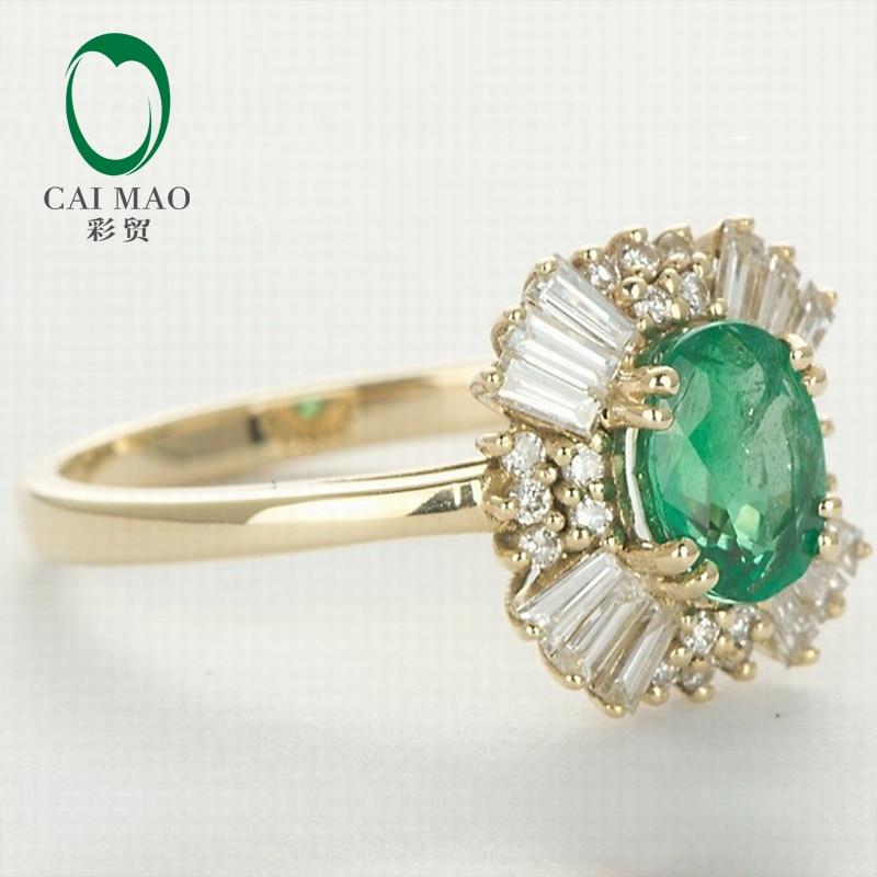 Caimao 14kt Yellow Gold Natural 1.21ct Emerald Round dan Baguette - Perhiasan bagus - Foto 2