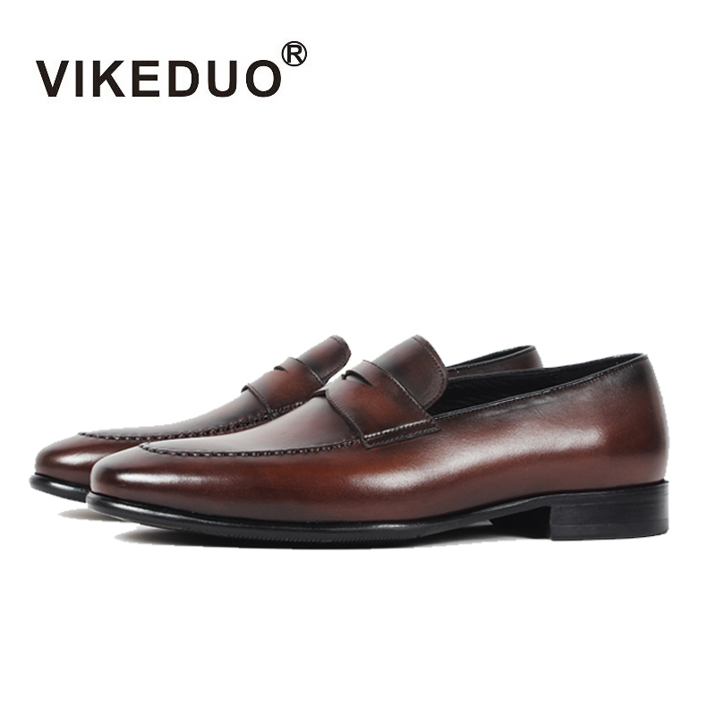 Vikeduo 2019 Handmade Vintage Italy Original Wedding Shoes Men Genuine Cow Leather Flat Men's Penny Loafer Shoes Patina Footwear