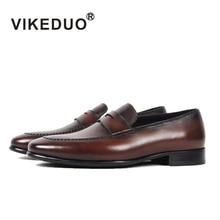 Vikeduo 2019 Handmade Vintage Italy Original Wedding Shoes Men Genuine Cow Leather Flat Men s Penny
