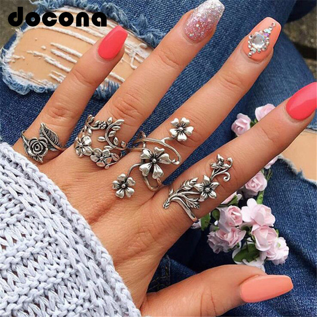 docona Vintage Rose Flower Rings Set for Women Girl Bohemia Antique Silver Color