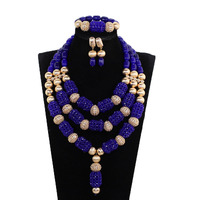 New Royal Blue Wedding African Beads Jewelry Set Crystal Beaded Pendant Necklace Set Blue Dubai Gold Bridal Jewellery Set WE175