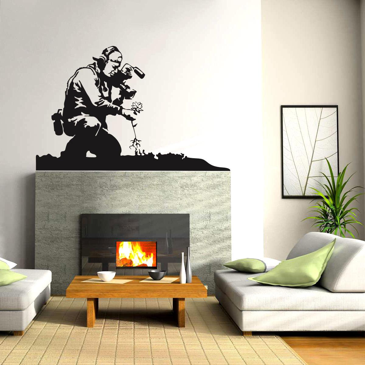 Graffiti wall vinyl - New Wall Decal Sticker Vinyl Street Art Graffiti Bedroom Kitchen Cameraman Free Shipping China