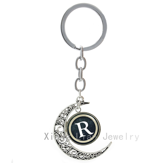 vintage letter r moon pendant key chain rings retro capital letters r logo men women keychain