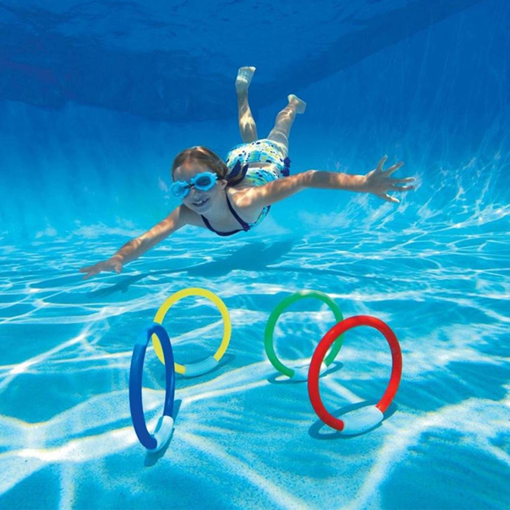 LumiParty 4PCS/Lot Underwater Dive Ring Swimming Pool Water Diving Toy Summer Beach Swimming Aid for Children