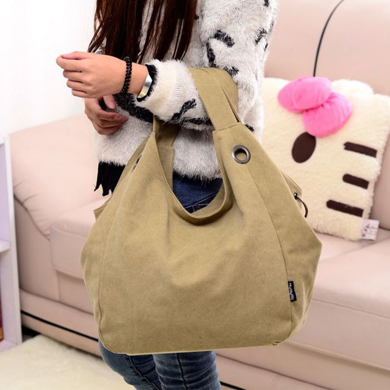 Hot Sale! High Quality Canvas Bags Large Capacity Women One Shoulder Bag Leisure Handbag Fashion Female Travel Wrist Bags 2016 2016 hot style horizontal women leisure canvas stripe handbag mix single shoulder bag handbag chain wave packet
