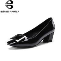 Bonjomarisa 2018本革スリップ上分厚い半ばかかと平方つま先黒ピンクオフィスパーティーポンプの靴女