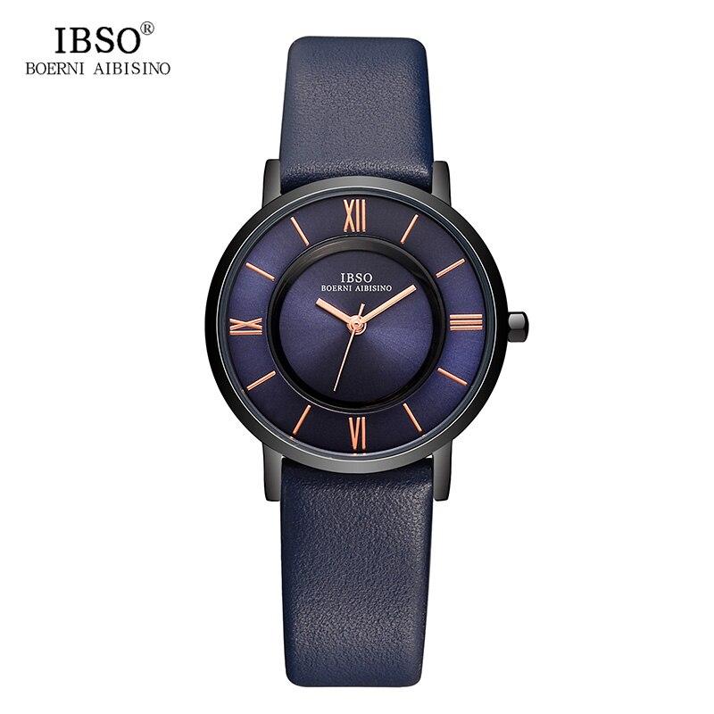 IBSO 7 MM דק נשים שעונים 2017 עור אמיתי רצועת אופנה כחול קוורץ שעון נשים יוקרה גבירותיי שעון montre Femme