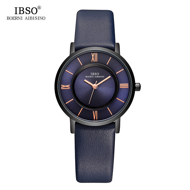 IBSO 7 MM Ultra-Thin Women Watches 2017 Genuine Leather Strap Fashion Blue Quart