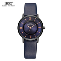 IBSO 7 MM Ultra Thin Women Watches 2017 Genuine Leather Strap Fashion Blue Quartz Watch Women Luxury Ladies Watch Montre Femme