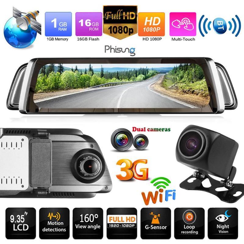 Phisung G05 9.35 WiFi 3G Android 5.0 Car Rearview Mirror DVR Dashcam Auto Full HD 1080P Dual Camera Video Recorder Dash Cam GPS gps navigator mirror car video recorder with bluetooth full hd resolution wifi camera automobile dvr rearview mirror dash cam