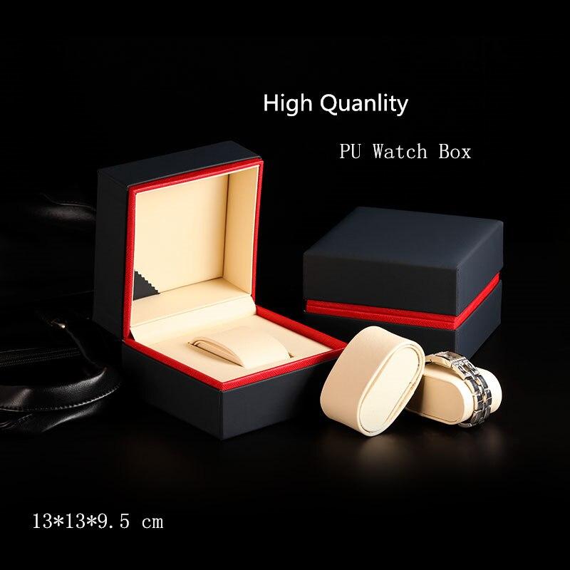 Fashion Quanlity PU Watch Box Navy Color Mens Watch Gift Case Special Design Watch Storage Box Single Watch Display Box C018 edwin watch navy