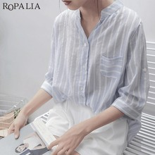 7f6450dcc13bb ROPALIA Women 2018 Striped Loose Blouses Shirts Asymmetrical V-Neck Casual  Shirts Cotton Light Color