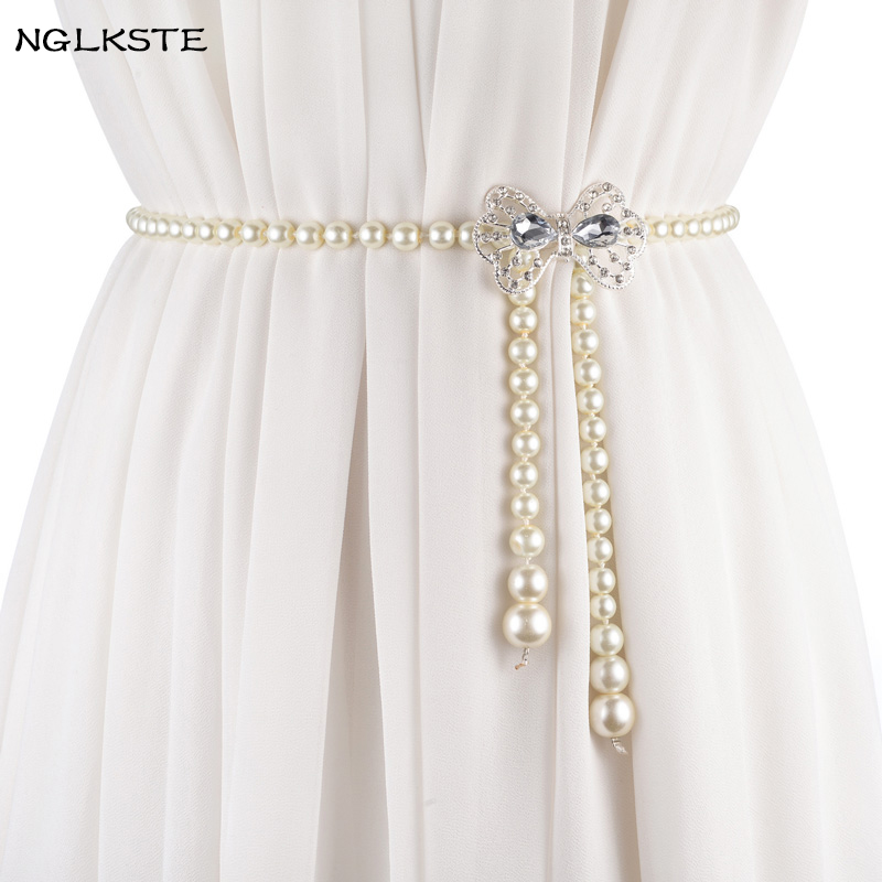 Apparel Accessories Nglkst Hot Sell European And American Womens Belt Casual Wear Decorative Simple Pearl Small Waist Chain Belts For Women Lbq016 Diversified Latest Designs
